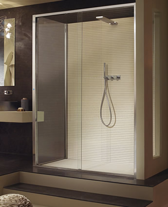 Shower enclosure and fixed panel with electronically-opened sliding ...